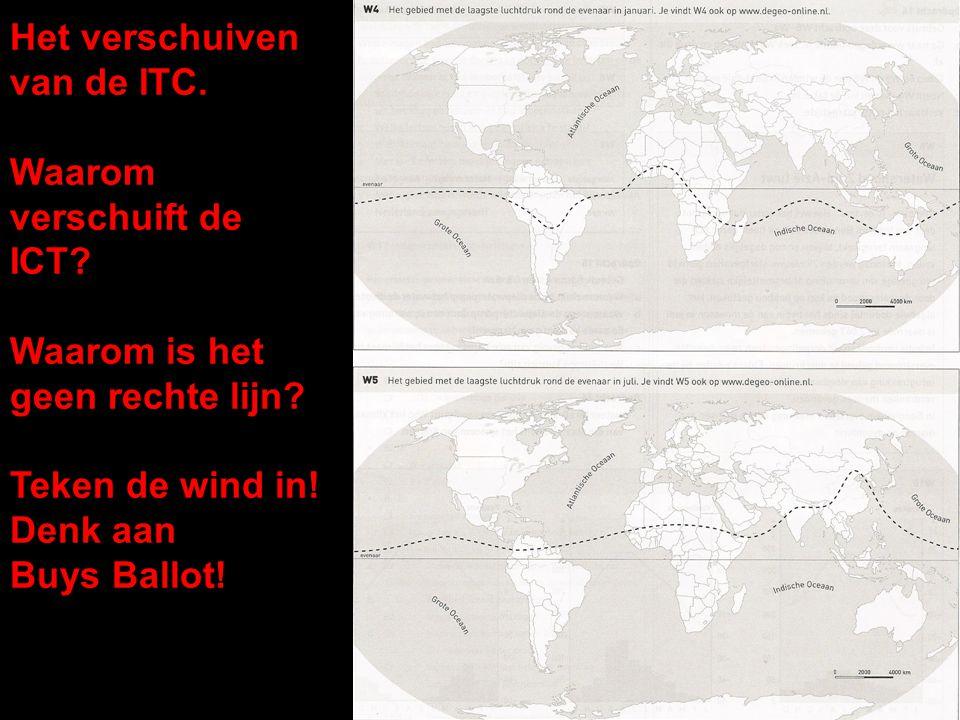 Het verschuiven van de ITC. Waarom verschuift de ICT? Waarom is het geen rechte lijn? Teken de wind in! Denk aan Buys Ballot!