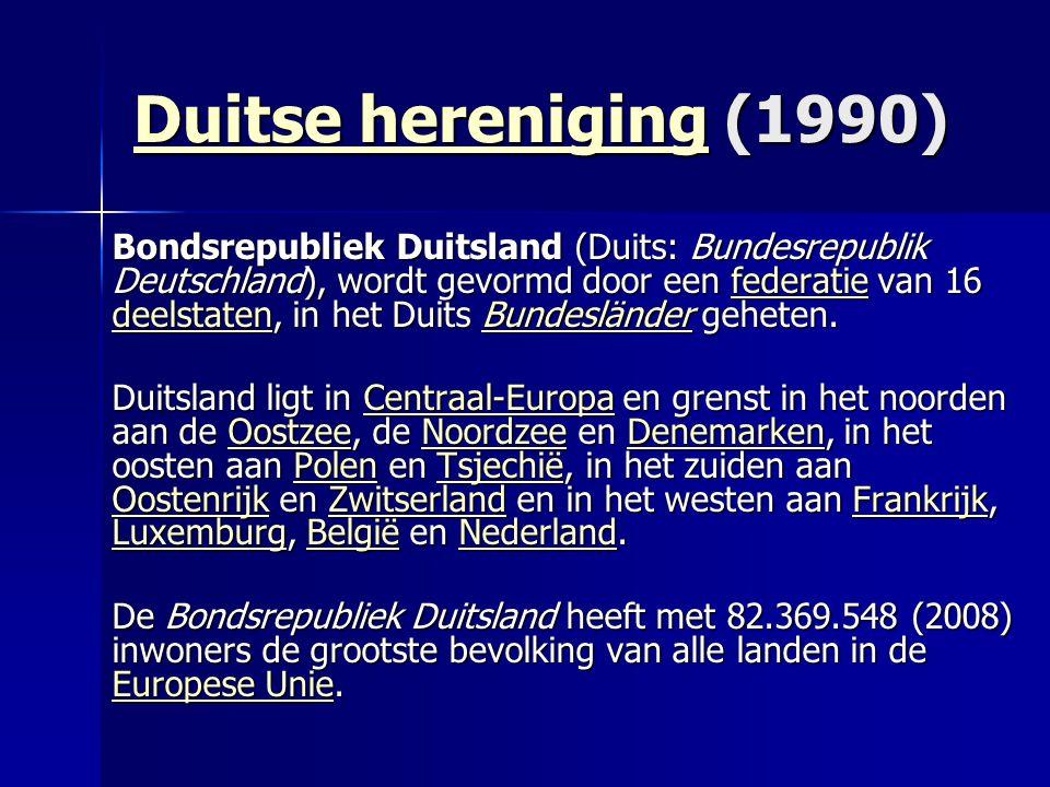 Duitse herenigingDuitse hereniging (1990) Duitse hereniging Bondsrepubliek Duitsland (Duits: Bundesrepublik Deutschland), wordt gevormd door een federatie van 16 deelstaten, in het Duits Bundesländer geheten.