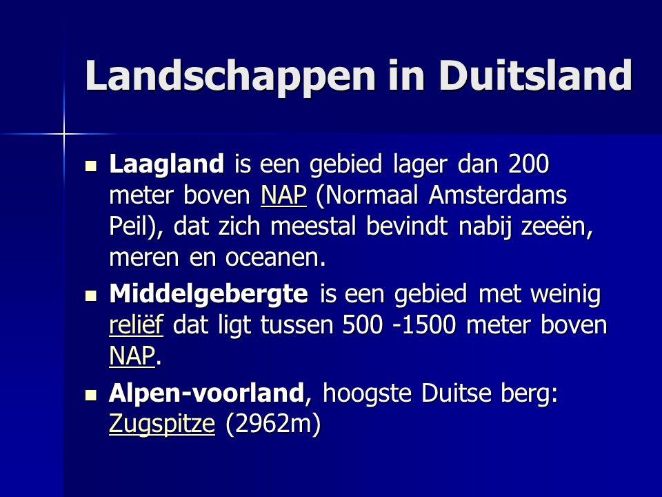 Landschappen in Duitsland Laagland is een gebied lager dan 200 meter boven NAP (Normaal Amsterdams Peil), dat zich meestal bevindt nabij zeeën, meren en oceanen.
