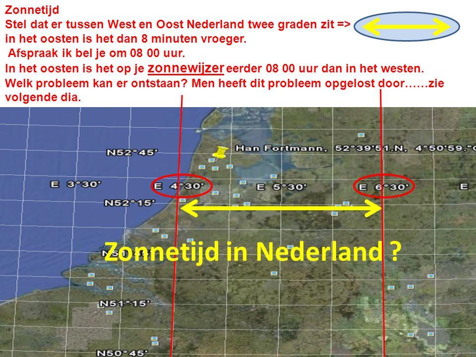 Zonnetijd Stel dat er tussen West en Oost Nederland twee graden zit => in het oosten is het dan 8 minuten vroeger. Afspraak ik bel je om 08 00 uur. In