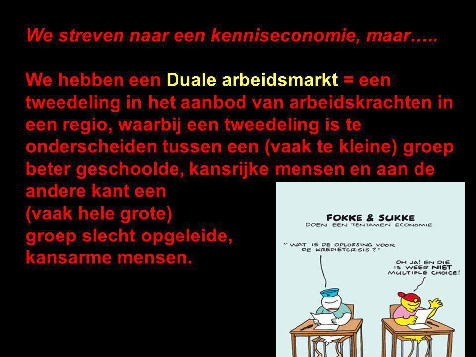 We streven naar een kenniseconomie, maar….. We hebben een Duale arbeidsmarkt = een tweedeling in het aanbod van arbeidskrachten in een regio, waarbij