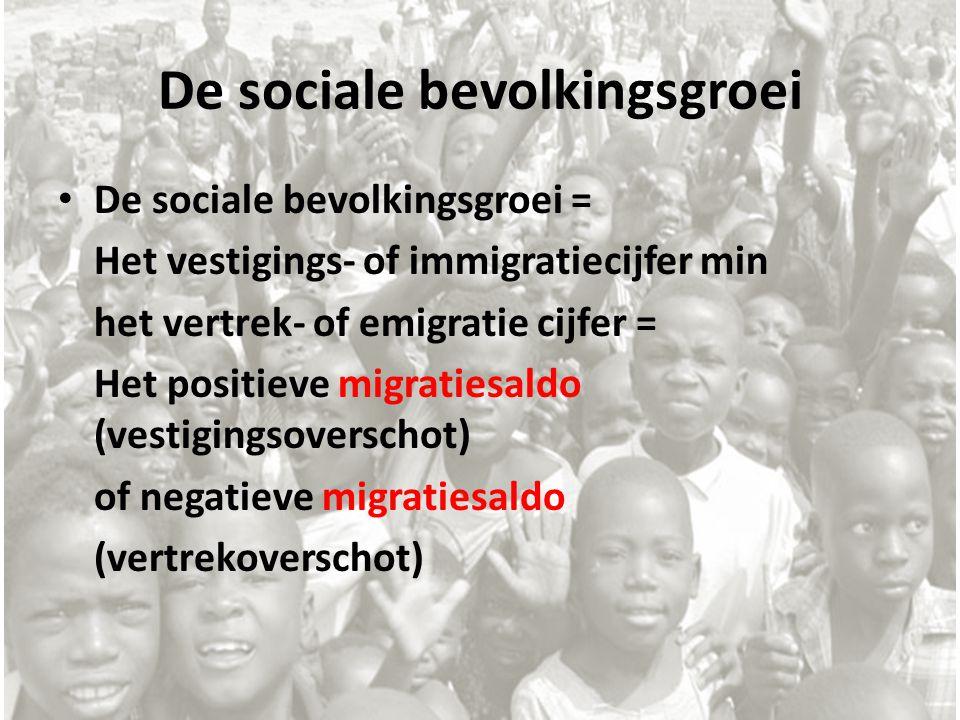De sociale bevolkingsgroei De sociale bevolkingsgroei = Het vestigings- of immigratiecijfer min het vertrek- of emigratie cijfer = Het positieve migra