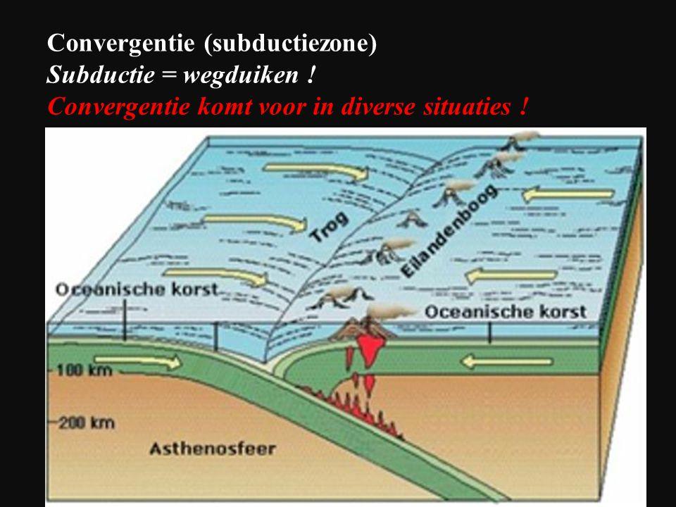 Convergentie (subductiezone) Subductie = wegduiken ! Convergentie komt voor in diverse situaties !