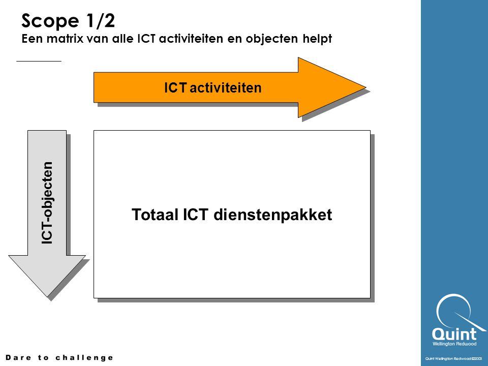 Quint Wellington Redwood ©2003 Scope 1/2 Een matrix van alle ICT activiteiten en objecten helpt Totaal ICT dienstenpakket ICT-objecten ICT activiteite
