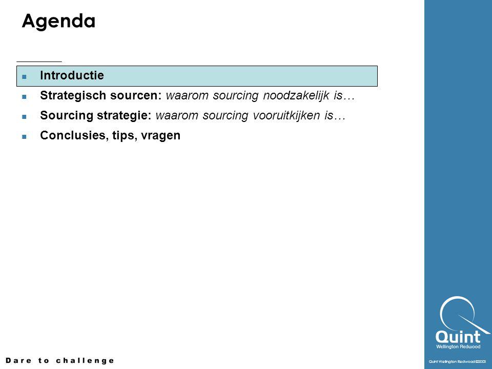 Quint Wellington Redwood ©2003 Agenda Introductie Strategisch sourcen: waarom sourcing noodzakelijk is… Sourcing strategie: waarom sourcing vooruitkij