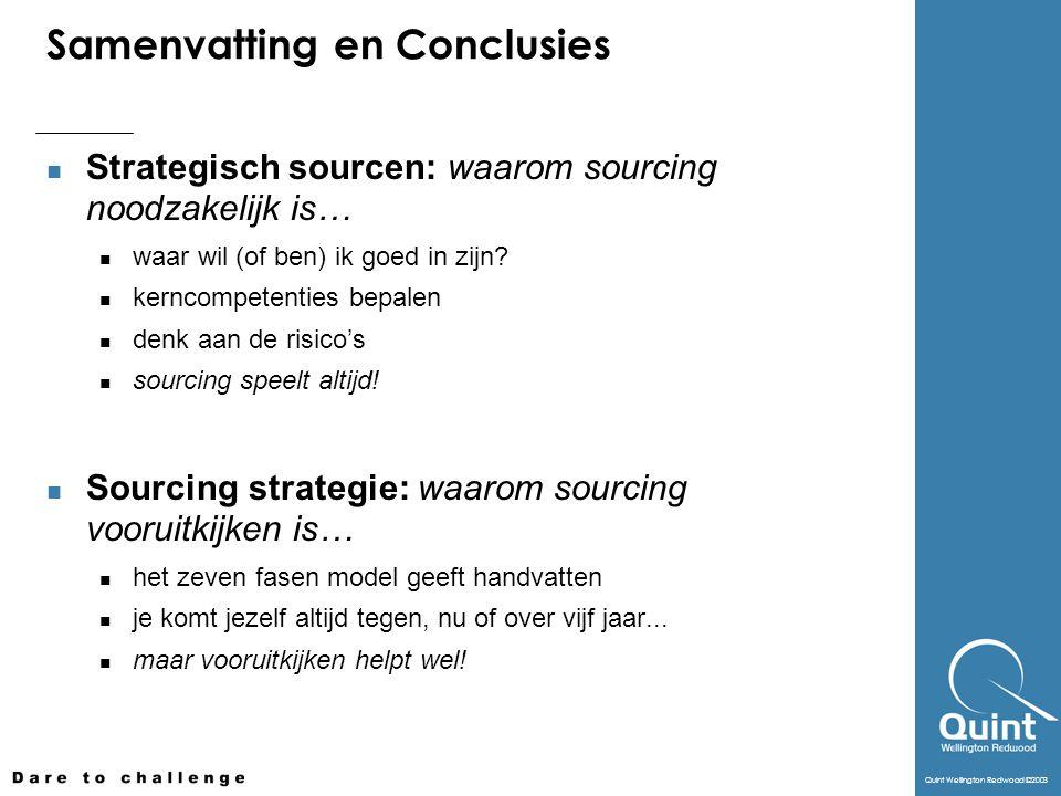 Quint Wellington Redwood ©2003 Samenvatting en Conclusies Strategisch sourcen: waarom sourcing noodzakelijk is… waar wil (of ben) ik goed in zijn? ker