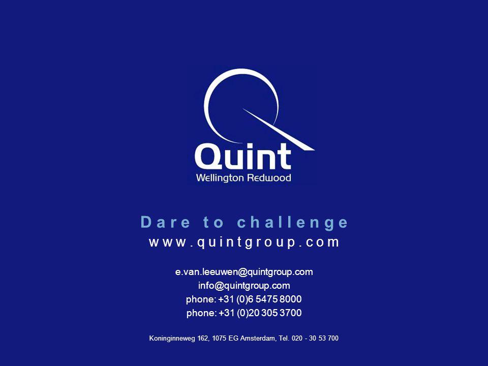 Quint Wellington Redwood ©2003 w w w. q u i n t g r o u p. c o m e.van.leeuwen@quintgroup.com info@quintgroup.com phone: +31 (0)6 5475 8000 phone: +31