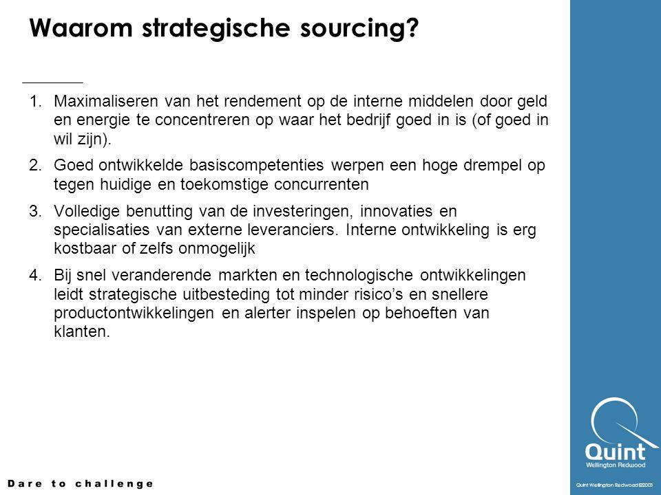 Quint Wellington Redwood ©2003 Waarom strategische sourcing? 1. Maximaliseren van het rendement op de interne middelen door geld en energie te concent