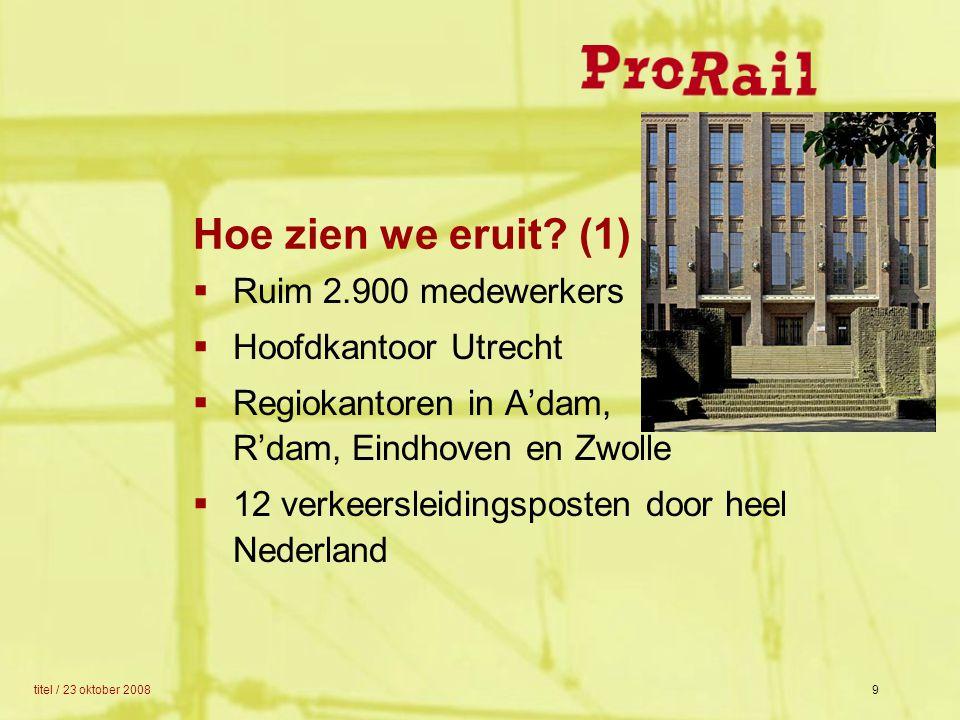 titel / 23 oktober 20089 Hoe zien we eruit? (1)  Ruim 2.900 medewerkers  Hoofdkantoor Utrecht  Regiokantoren in A'dam, R'dam, Eindhoven en Zwolle 
