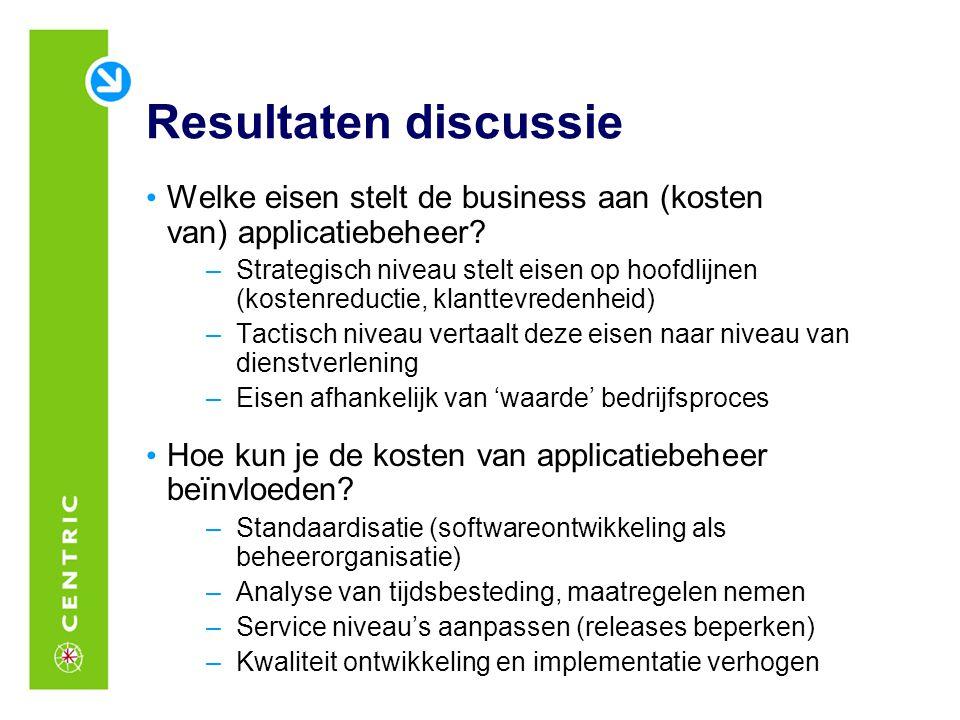 Resultaten discussie Welke eisen stelt de business aan (kosten van) applicatiebeheer? –Strategisch niveau stelt eisen op hoofdlijnen (kostenreductie,