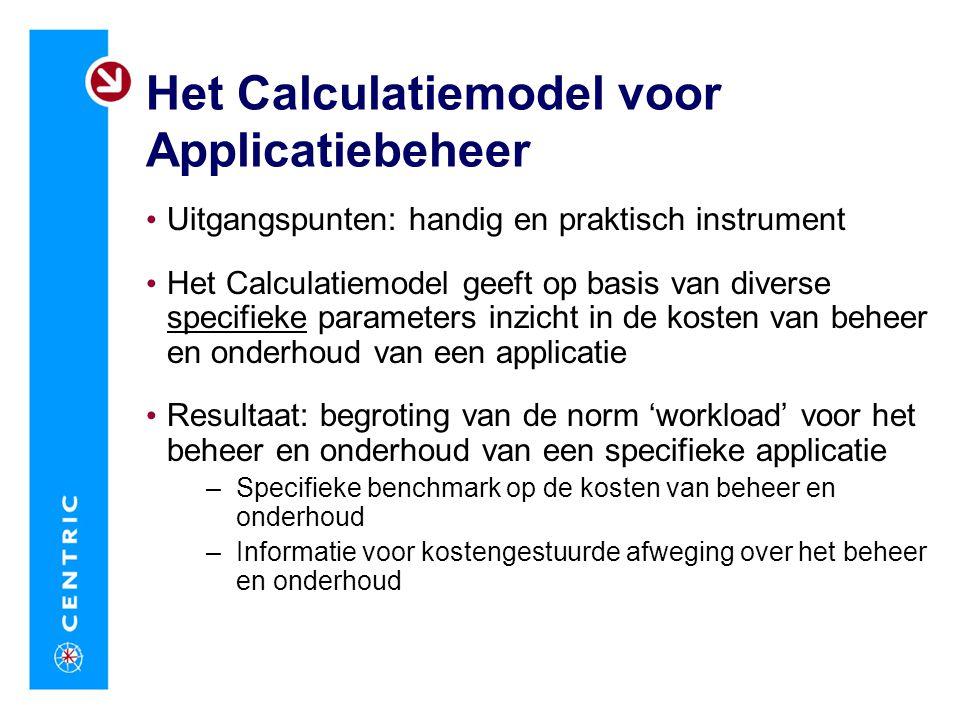Het Calculatiemodel voor Applicatiebeheer Uitgangspunten: handig en praktisch instrument Het Calculatiemodel geeft op basis van diverse specifieke par