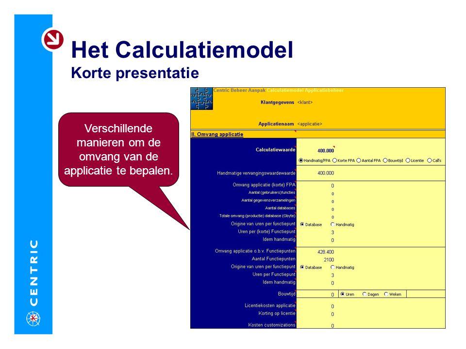 Het Calculatiemodel Korte presentatie Verschillende manieren om de omvang van de applicatie te bepalen.