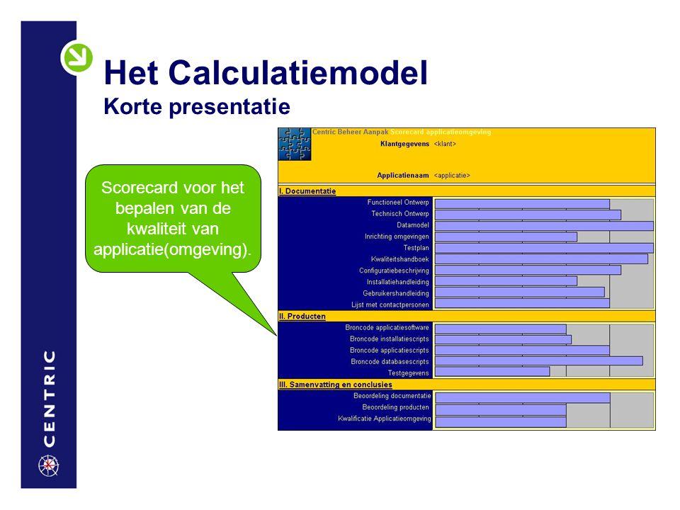 Het Calculatiemodel Korte presentatie Scorecard voor het bepalen van de kwaliteit van applicatie(omgeving).