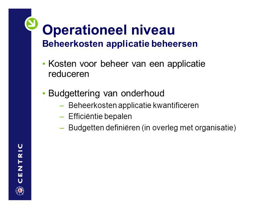 Operationeel niveau Beheerkosten applicatie beheersen Kosten voor beheer van een applicatie reduceren Budgettering van onderhoud –Beheerkosten applica