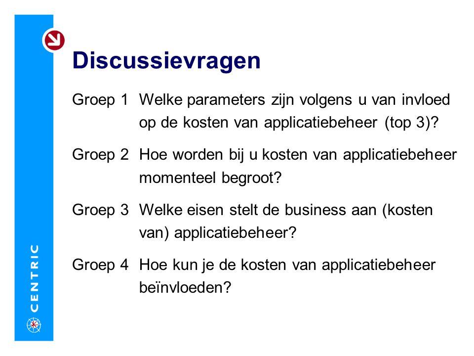 Discussievragen Groep 1 Groep 2 Groep 3 Groep 4 Welke parameters zijn volgens u van invloed op de kosten van applicatiebeheer (top 3)? Hoe worden bij