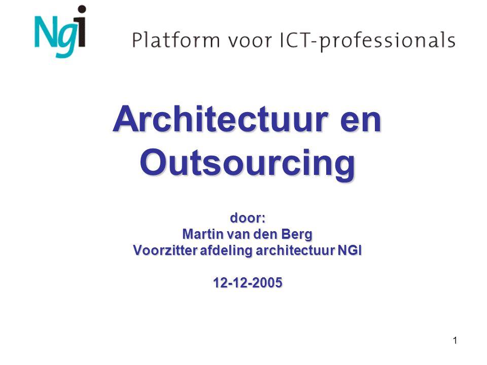 1 Architectuur en Outsourcing door: Martin van den Berg Voorzitter afdeling architectuur NGI 12-12-2005