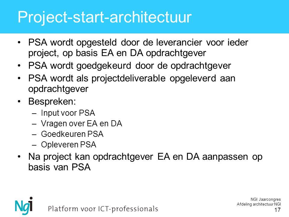 NGI Jaarcongres Afdeling architectuur NGI 17 Project-start-architectuur PSA wordt opgesteld door de leverancier voor ieder project, op basis EA en DA opdrachtgever PSA wordt goedgekeurd door de opdrachtgever PSA wordt als projectdeliverable opgeleverd aan opdrachtgever Bespreken: –Input voor PSA –Vragen over EA en DA –Goedkeuren PSA –Opleveren PSA Na project kan opdrachtgever EA en DA aanpassen op basis van PSA