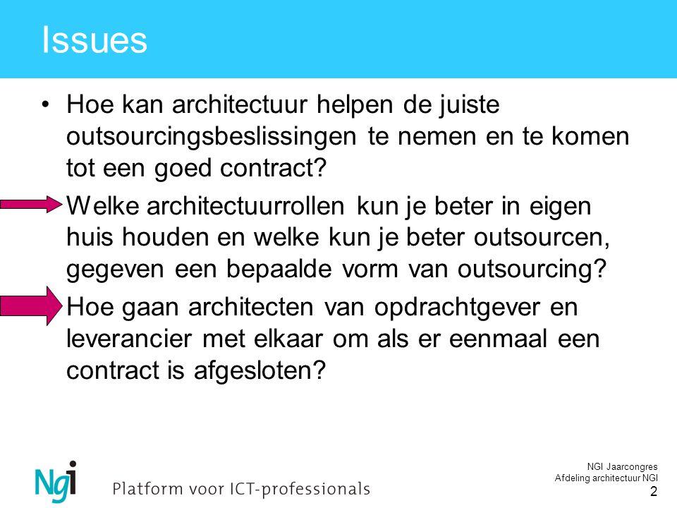 NGI Jaarcongres Afdeling architectuur NGI 2 Issues Hoe kan architectuur helpen de juiste outsourcingsbeslissingen te nemen en te komen tot een goed contract.