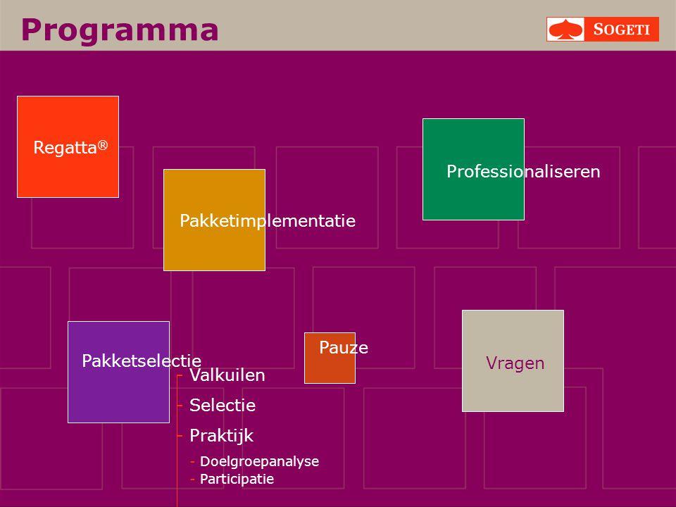 Vragen Programma Pakketselectie Regatta ® Pakketimplementatie Pauze Professionaliseren - Valkuilen - Selectie - Praktijk - Doelgroepanalyse - Particip