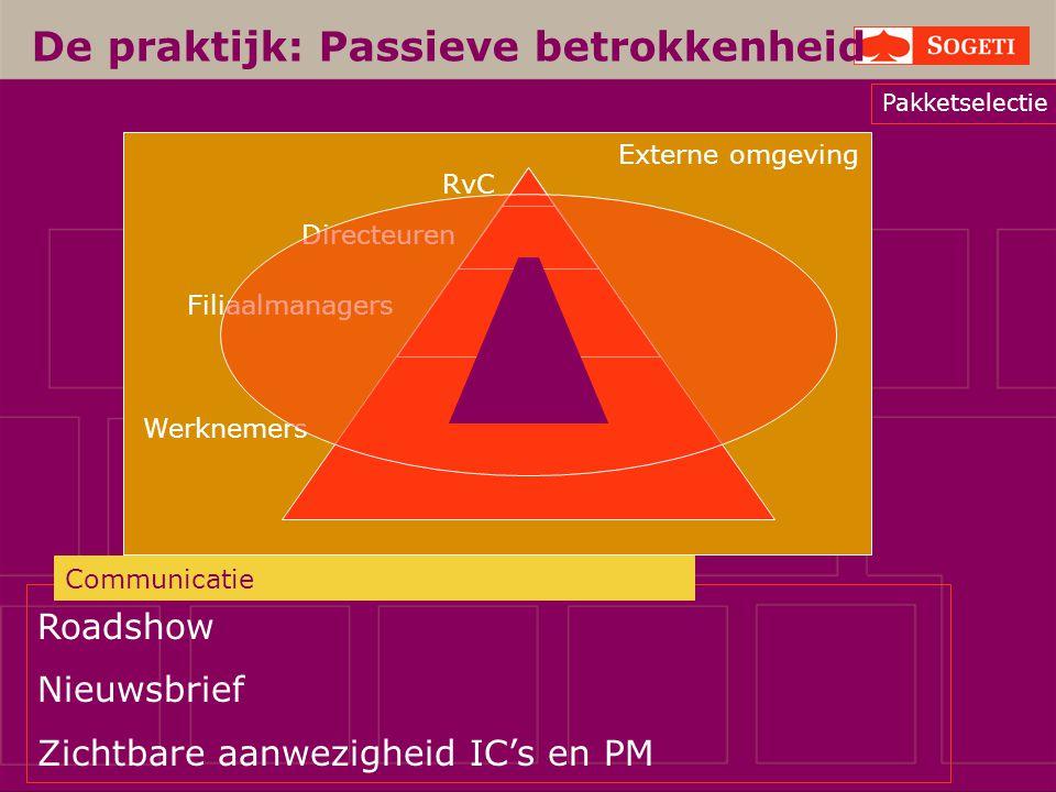 Externe omgeving Werknemers Filiaalmanagers Directeuren De praktijk: Passieve betrokkenheid RvC Roadshow Nieuwsbrief Zichtbare aanwezigheid IC's en PM