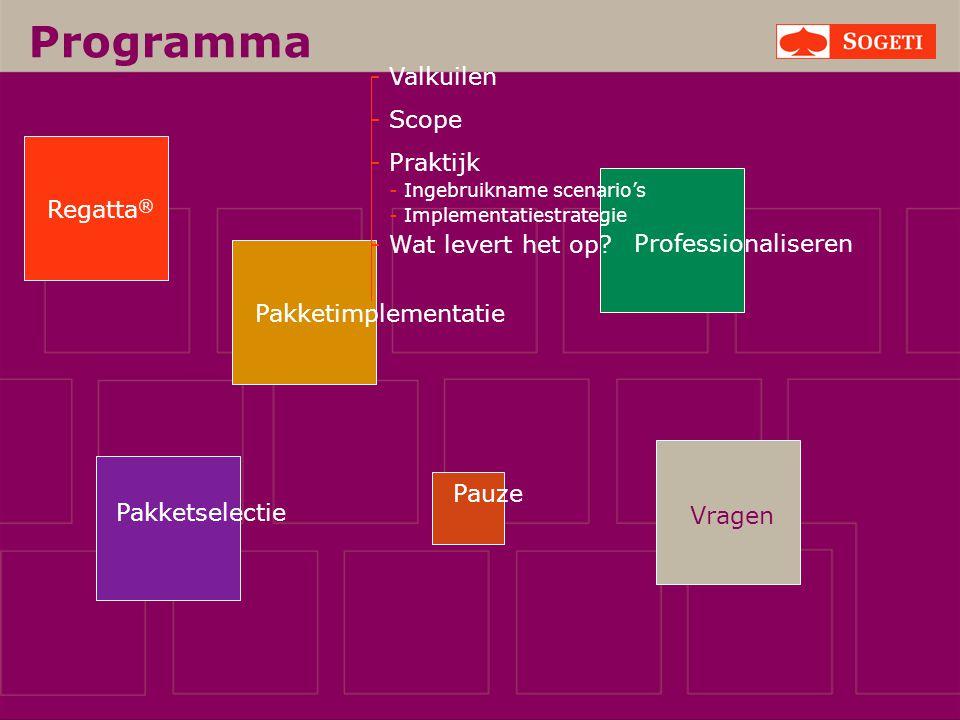 Vragen Programma Pakketselectie Regatta ® Pakketimplementatie Pauze Professionaliseren - Valkuilen - Scope - Praktijk - Ingebruikname scenario's - Imp