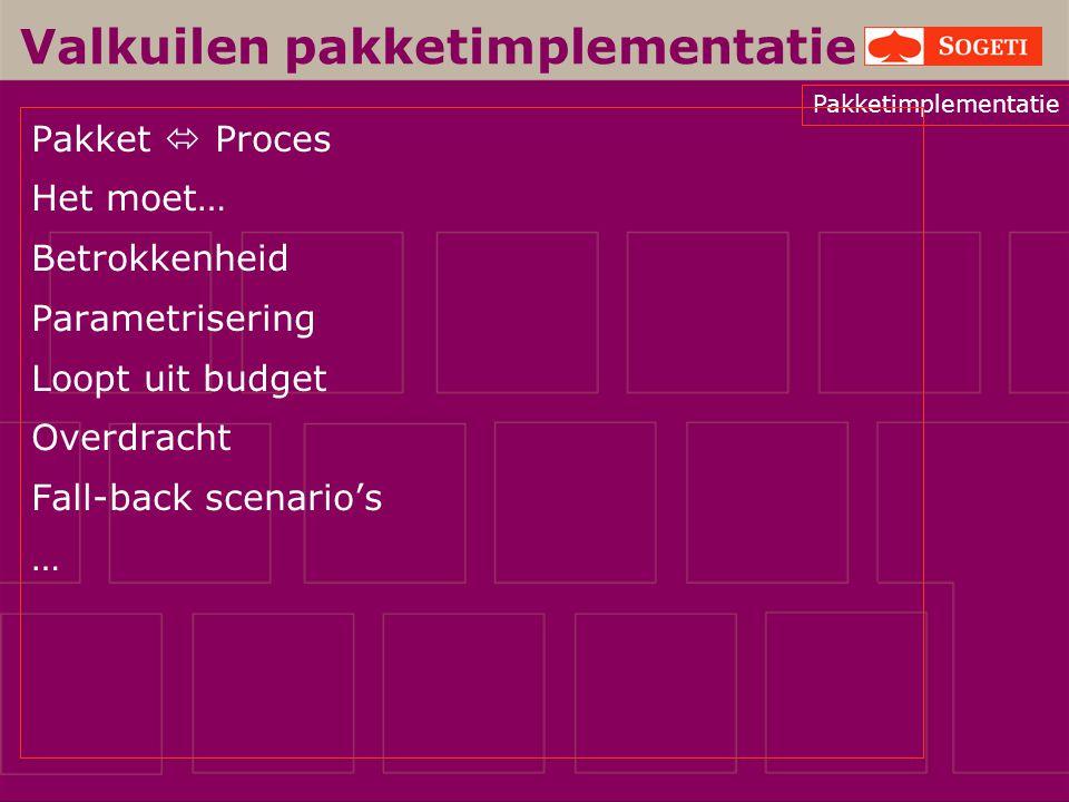 Pakketimplementatie Valkuilen pakketimplementatie Pakket  Proces Het moet… Betrokkenheid Parametrisering Loopt uit budget Overdracht Fall-back scenar
