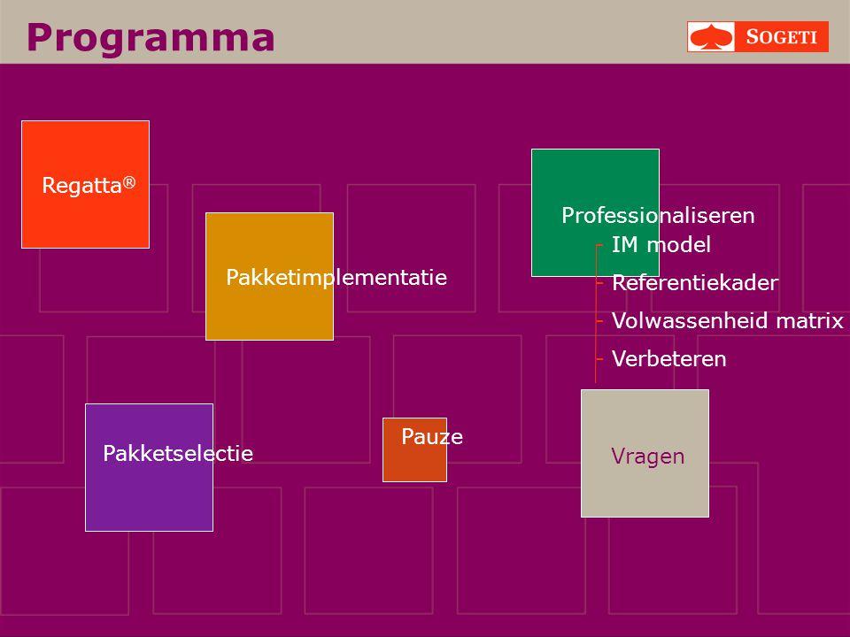 Vragen Programma Pakketselectie Regatta ® Pakketimplementatie Pauze Professionaliseren - IM model - Referentiekader - Volwassenheid matrix - Verbetere