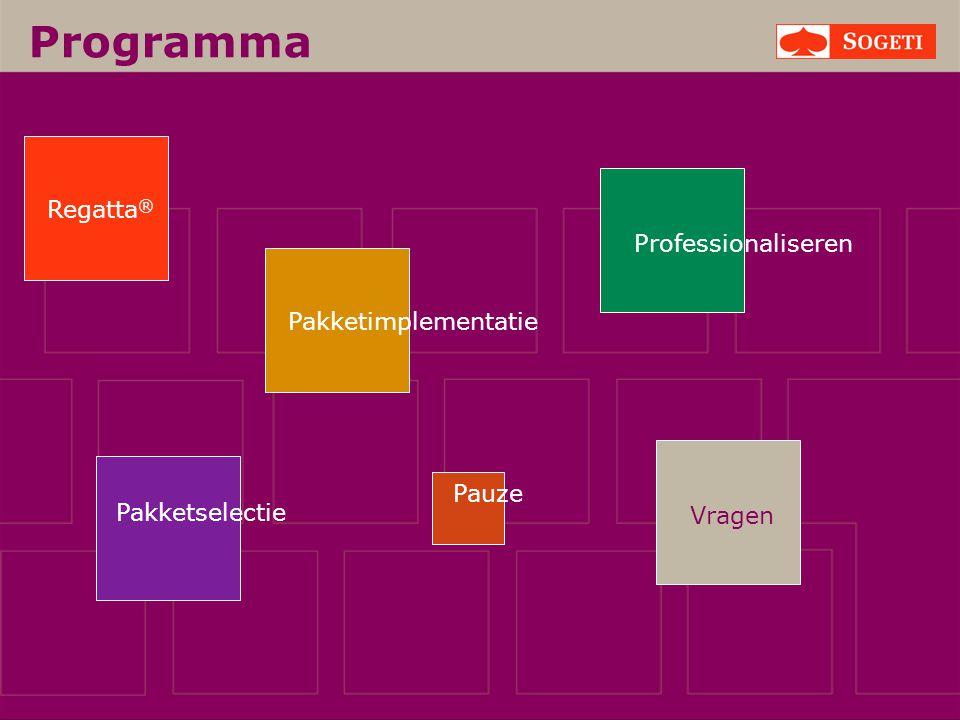 Vragen Programma Pakketselectie Regatta ® Pakketimplementatie Pauze Professionaliseren