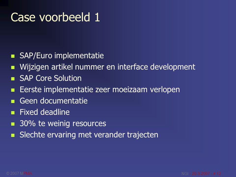 © 2007 MPMA NGI - 20-3-2007 - # 12 Case voorbeeld 1 SAP/Euro implementatie Wijzigen artikel nummer en interface development SAP Core Solution Eerste i