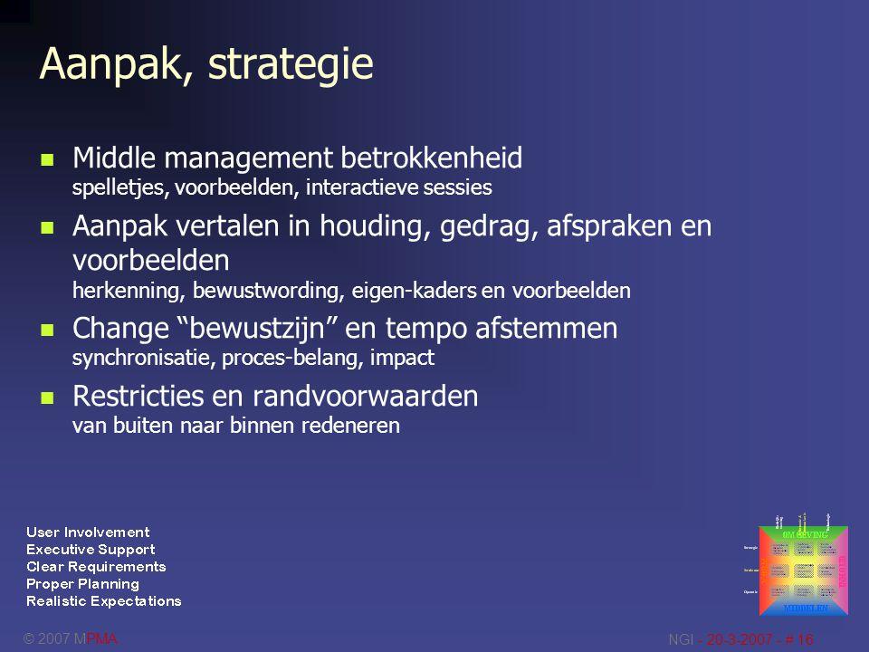 © 2007 MPMA NGI - 20-3-2007 - # 16 Aanpak, strategie Middle management betrokkenheid spelletjes, voorbeelden, interactieve sessies Aanpak vertalen in