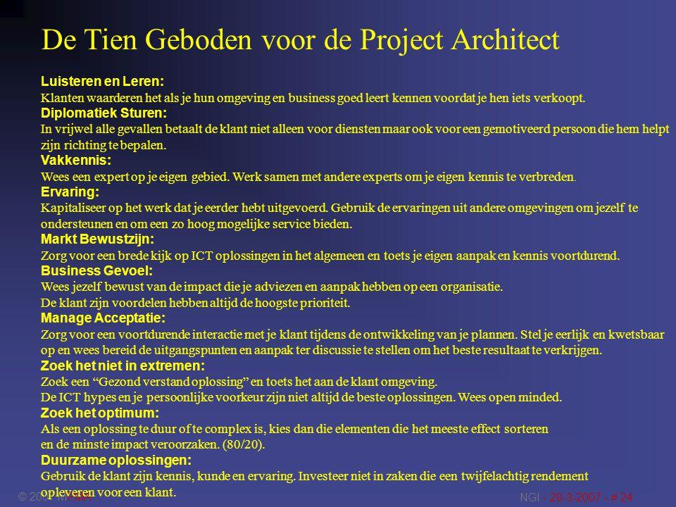 © 2007 MPMA NGI - 20-3-2007 - # 24 De Tien Geboden voor de Project Architect Luisteren en Leren: Klanten waarderen het als je hun omgeving en business