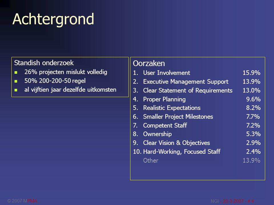 © 2007 MPMA NGI - 20-3-2007 - # 5 van Henderson >>> Project Architectuur Business Scope Administratieve Infrastructuur IT Infrastructuur Technology Scope BusinessIT Extern Intern