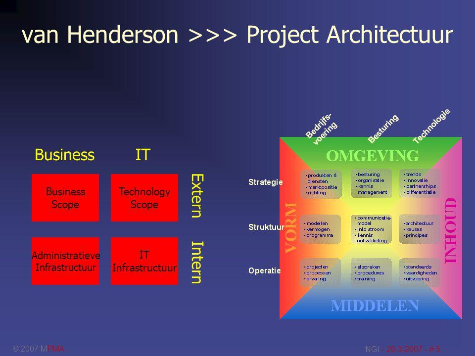 © 2007 MPMA NGI - 20-3-2007 - # 5 van Henderson >>> Project Architectuur Business Scope Administratieve Infrastructuur IT Infrastructuur Technology Sc