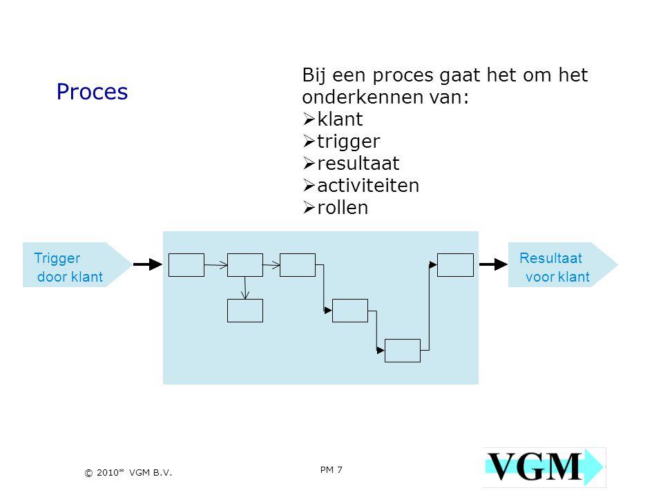 PM 7 7 © 2010* VGM B.V. Proces Bij een proces gaat het om het onderkennen van:  klant  trigger  resultaat  activiteiten  rollen