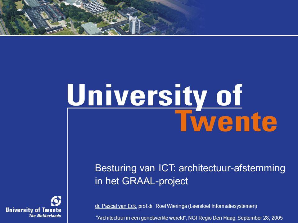 """1/32 Besturing van ICT: architectuur-afstemming in het GRAAL-project dr. Pascal van Eck, prof.dr. Roel Wieringa (Leerstoel Informatiesystemen) """"Archit"""