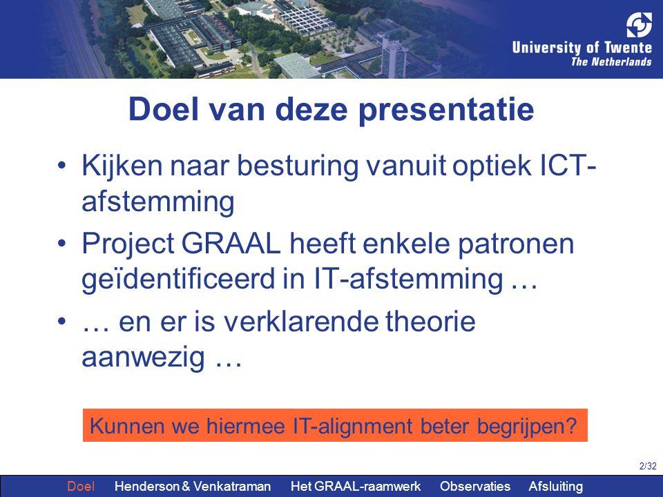 2/32 Doel van deze presentatie Kijken naar besturing vanuit optiek ICT- afstemming Project GRAAL heeft enkele patronen geïdentificeerd in IT-afstemmin