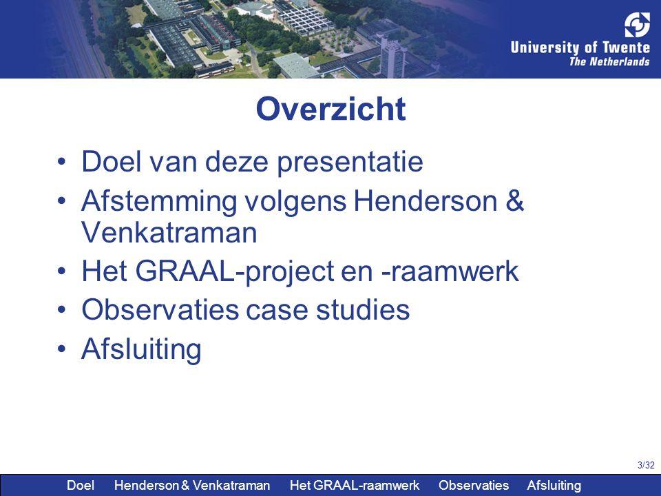 3/32 Overzicht Doel van deze presentatie Afstemming volgens Henderson & Venkatraman Het GRAAL-project en -raamwerk Observaties case studies Afsluiting