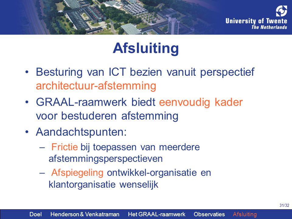 31/32 Afsluiting Besturing van ICT bezien vanuit perspectief architectuur-afstemming GRAAL-raamwerk biedt eenvoudig kader voor bestuderen afstemming A