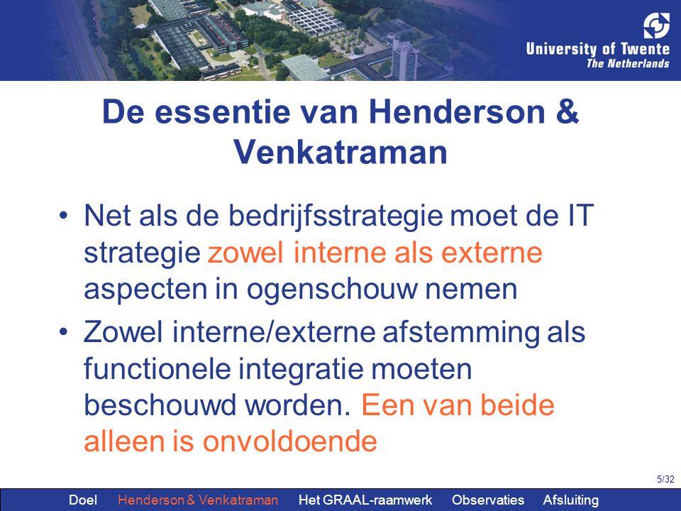5/32 De essentie van Henderson & Venkatraman Net als de bedrijfsstrategie moet de IT strategie zowel interne als externe aspecten in ogenschouw nemen Zowel interne/externe afstemming als functionele integratie moeten beschouwd worden.