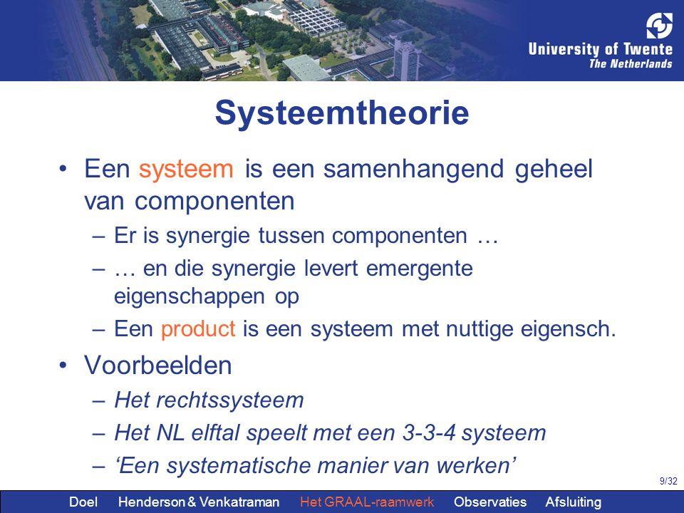 9/32 Systeemtheorie Een systeem is een samenhangend geheel van componenten –Er is synergie tussen componenten … –… en die synergie levert emergente eigenschappen op –Een product is een systeem met nuttige eigensch.