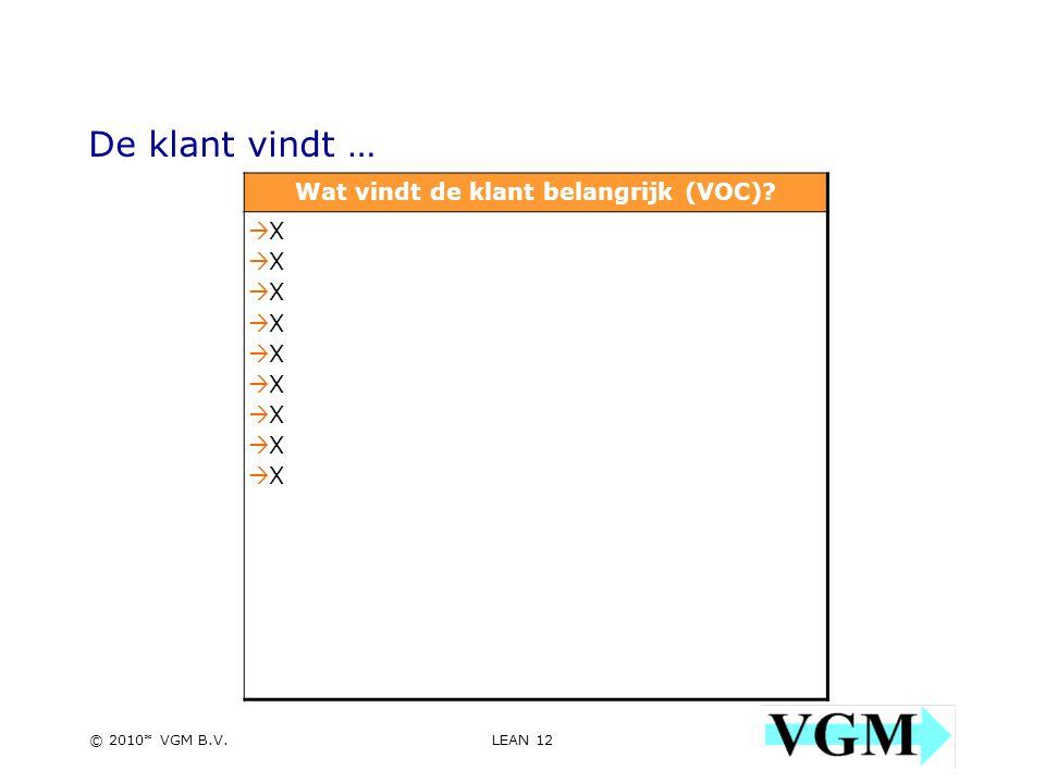 LEAN 12 12 © 2010* VGM B.V. De klant vindt … Wat vindt de klant belangrijk (VOC).