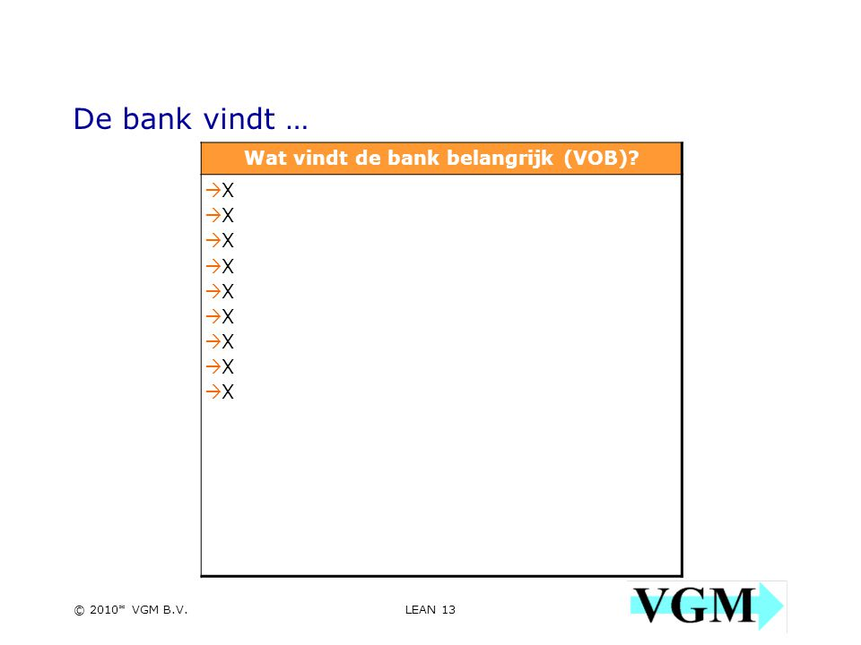 LEAN 13 13 © 2010* VGM B.V. De bank vindt … Wat vindt de bank belangrijk (VOB).