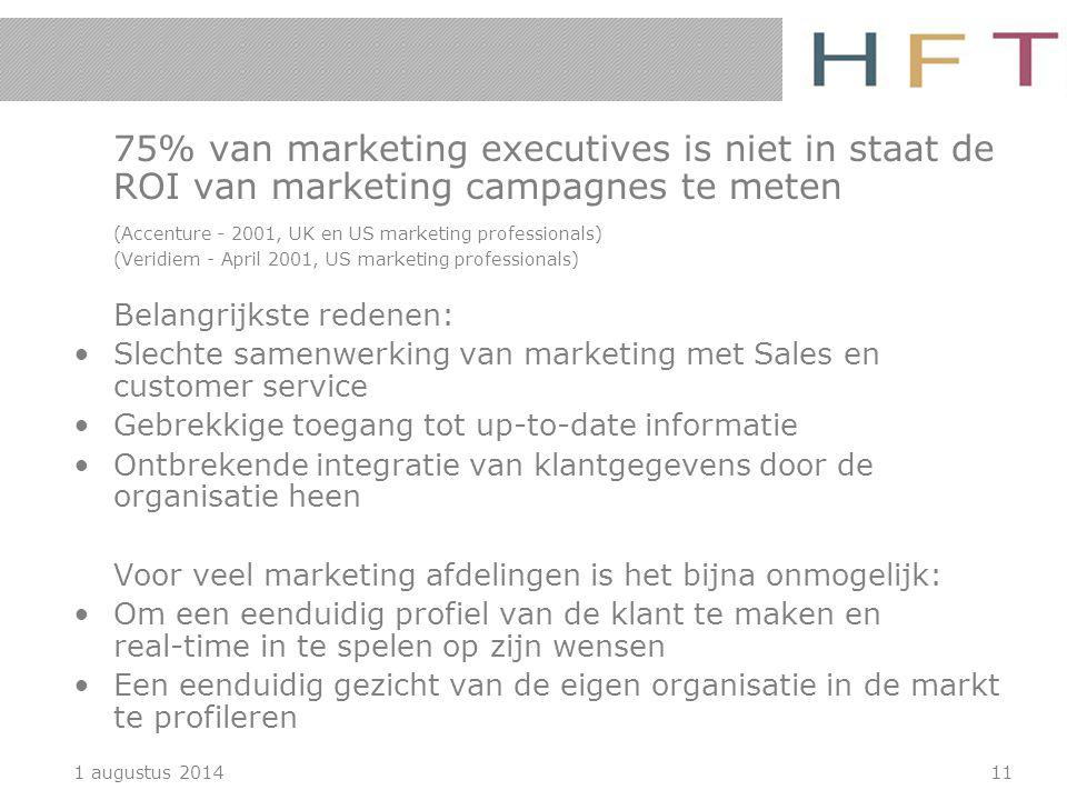 1 augustus 201411 75% van marketing executives is niet in staat de ROI van marketing campagnes te meten (Accenture - 2001, UK en US marketing professi