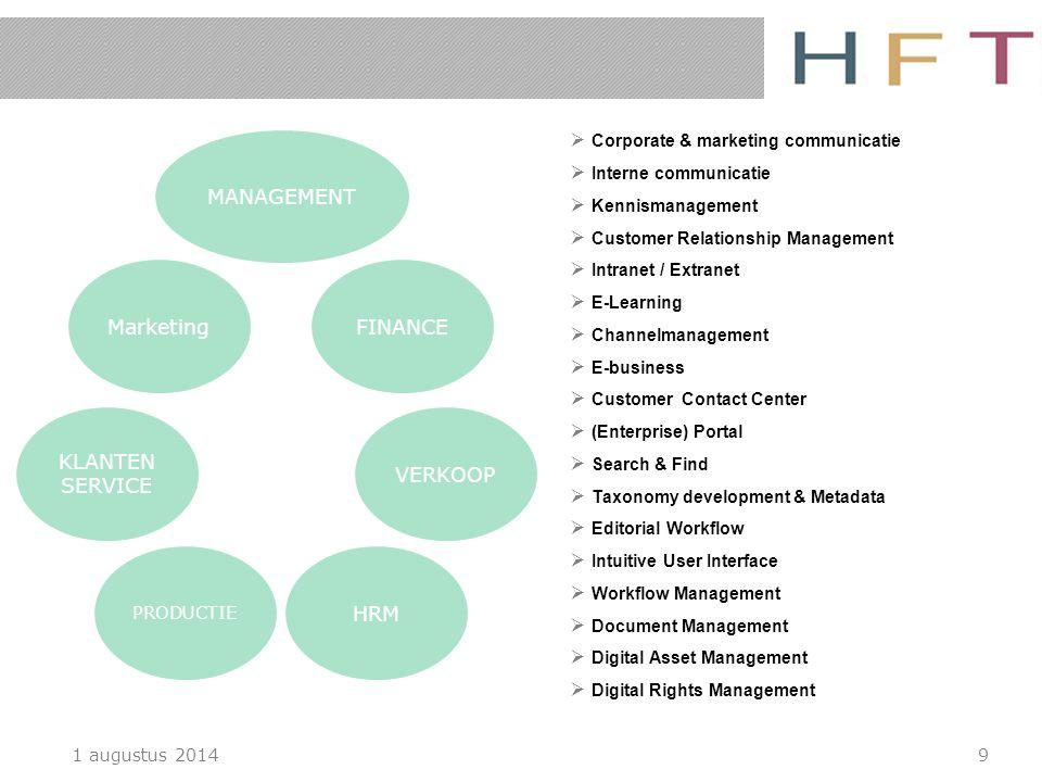 1 augustus 20149  Corporate & marketing communicatie  Interne communicatie  Kennismanagement  Customer Relationship Management  Intranet / Extran