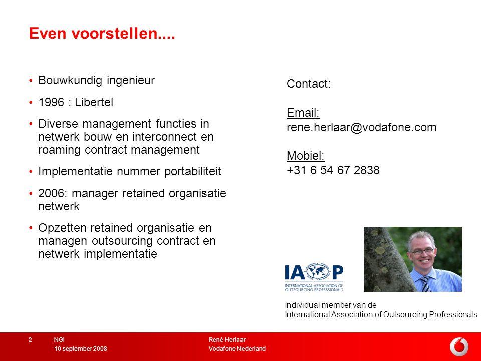 René Herlaar Vodafone Nederland10 september 2008 NGI2 Even voorstellen....