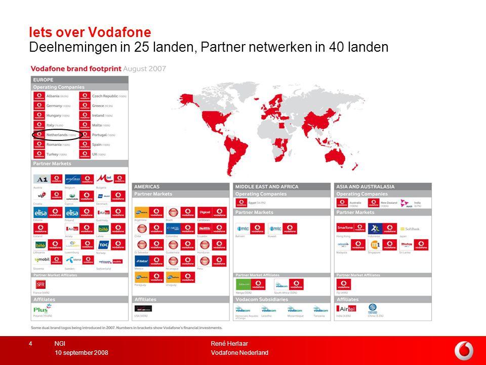 René Herlaar Vodafone Nederland10 september 2008 NGI4 Iets over Vodafone Deelnemingen in 25 landen, Partner netwerken in 40 landen Image here