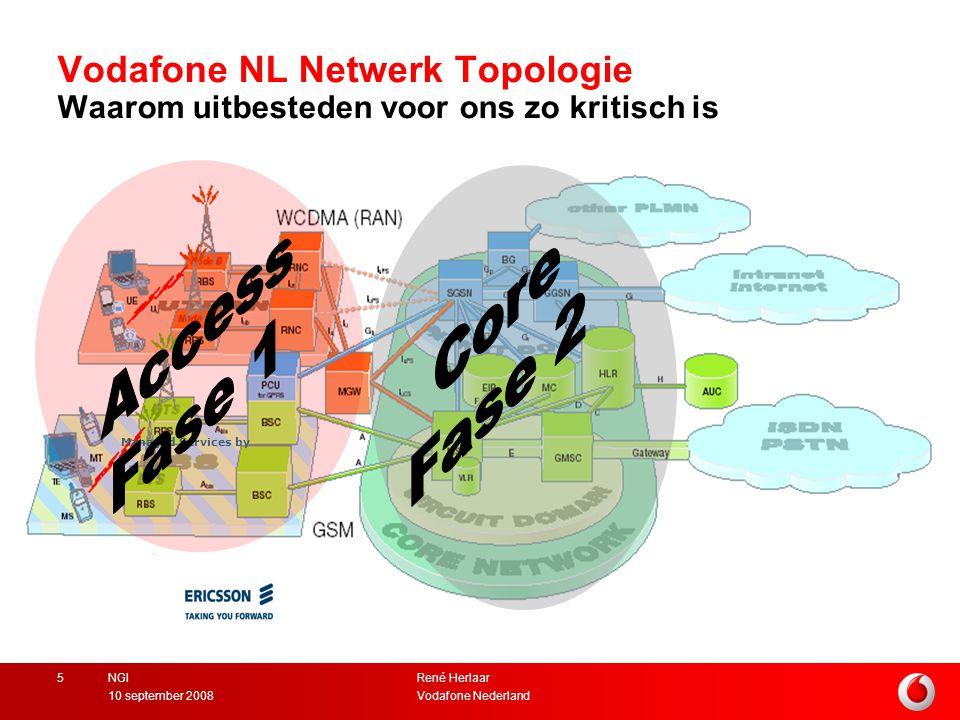 René Herlaar Vodafone Nederland10 september 2008 NGI5 Vodafone NL Netwerk Topologie Waarom uitbesteden voor ons zo kritisch is Managed Services by