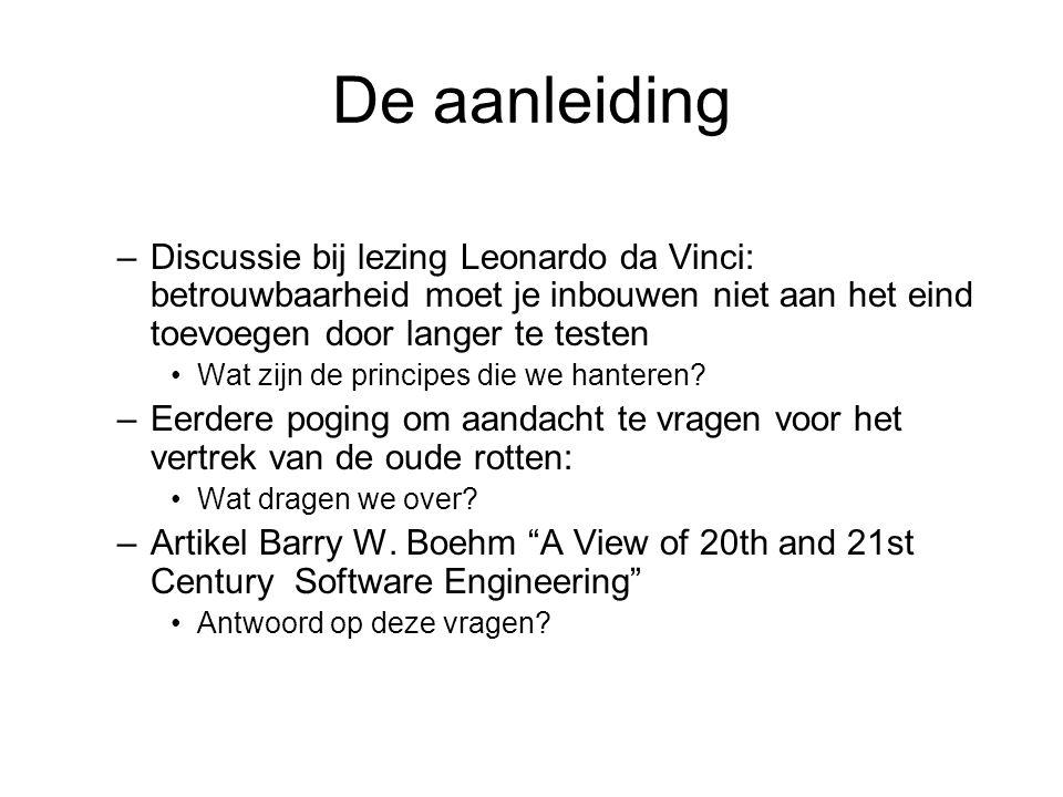 De aanleiding –Discussie bij lezing Leonardo da Vinci: betrouwbaarheid moet je inbouwen niet aan het eind toevoegen door langer te testen Wat zijn de