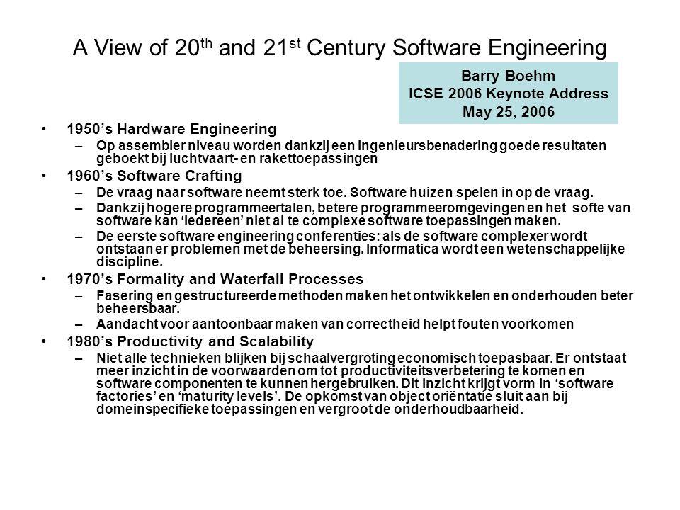 A View of 20 th and 21 st Century Software Engineering 1950's Hardware Engineering –Op assembler niveau worden dankzij een ingenieursbenadering goede