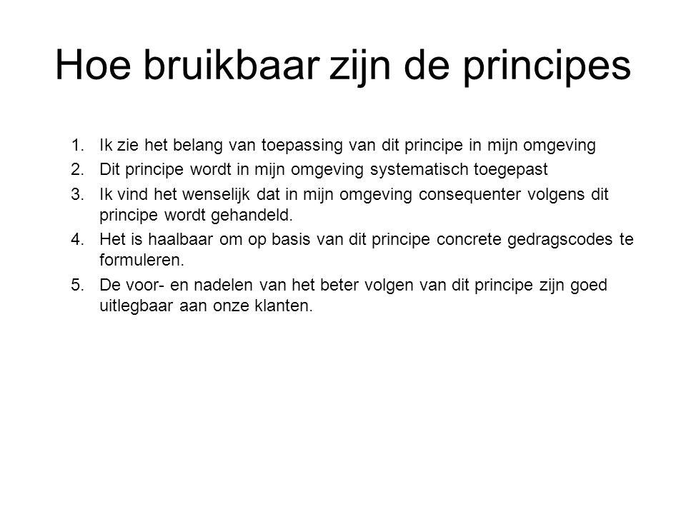 Hoe bruikbaar zijn de principes 1.Ik zie het belang van toepassing van dit principe in mijn omgeving 2.Dit principe wordt in mijn omgeving systematisc